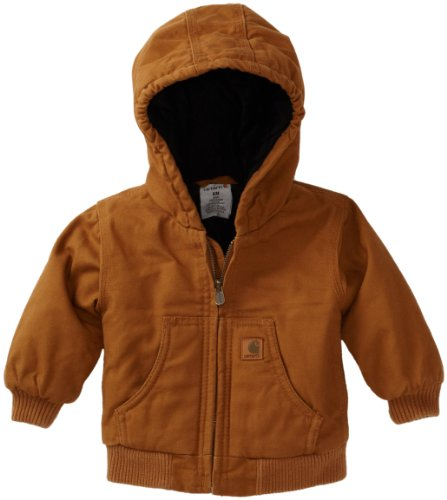 Carhartt Baby Boys' Active Quilted Flannel Lined Jacket, Carhartt Brown, 18 Months