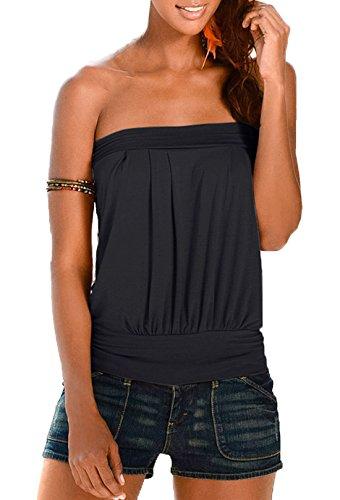 Femme Unie Fashion Manches Shirts Kilt Hauts sans Freestyle Shirt Noir Blouse Bandeau Dos Nu Tops T Chemisiers Vest Couleur BqOtdx