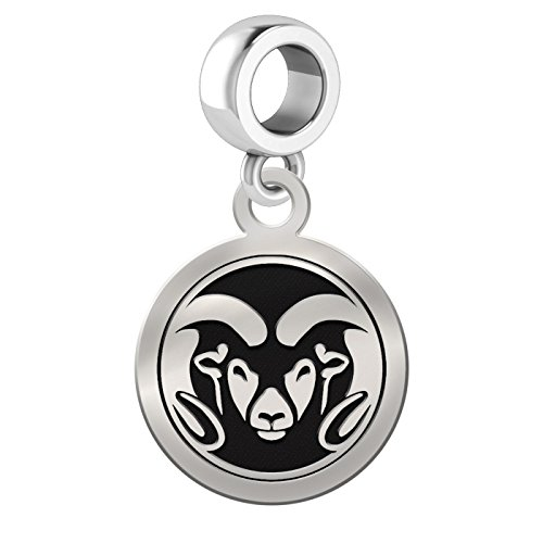 Colorado State Rams Sterling Silver Round Drop Charm Fits All European Style Charm Bracelets by College Jewelry