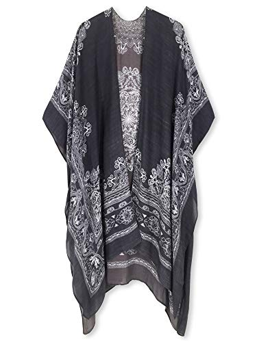 (Moss Rose Women's Beach Cover up Swimsuit Kimono Cardigan with Bohemian Floral Print (Dark Brown Print))