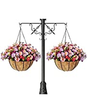 2ps Artificial Daisy Artificial Hanging Basket Flowers Outdoor with Hanging Planter for Outside Home Patio Garden Balcony Decoration