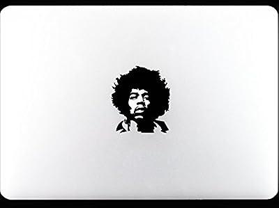Jimi Jimmy Hendrix portrait on mac apple Musician Legend Guitar player apple pro macbook decal sticker black from Art Stickers & Decals