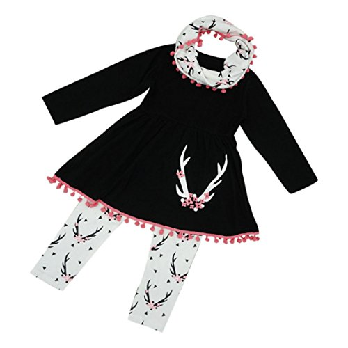 Lonsbo Kids Girls Winter Tunic Dress Pants Scarf 3PCS Clothes New Outfits Set (12M) ()