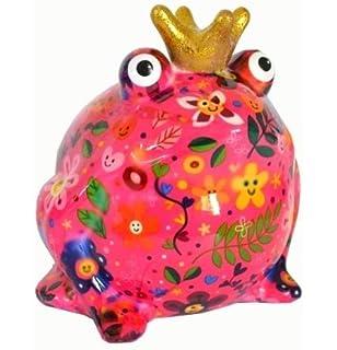 Spardose Sparfrosch Keramik Pomme-Pidou Frosch Figur goldene Krone grün Herze