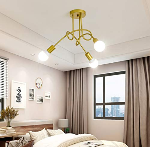 (ZLIANG Contemporary 3 Way Polished Chrome Curved Arm Flush Ceiling Light with Swirled 3x7w White Light Dragon Ball Lamp for Living Room Dining Room Bedroom,Gold,3Twhitelight)