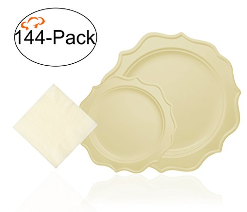 Tiger Chef 144-Pack Cream Color Scalloped Rim Disposable Party Supplies Set for 48 Guests, includes 48 10-Inch Dinner Plates, 48 8-Inch Hard Plastic Plates ,48 Beverage Napkins - - Rim Cream