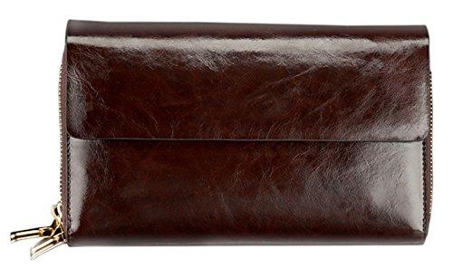 Wallet Wristlet Cow Purse SAIERLONG Coffee Men's Leather Men's SAIERLONG Cow q4HUvAw