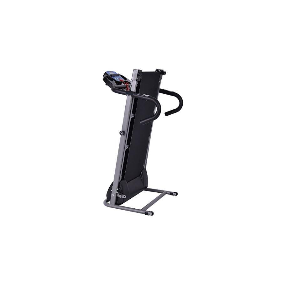 Goplus 1100W Folding Treadmill Electric Motorized Power Fitness Running Machine w/Support (Black)