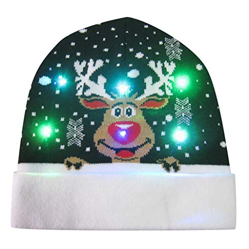 LED Beanie Knit Hat,Crytech Funny Clolorful LED Light Up Winter Warm Knitted Cable Skull Snow Ski Cap with Pom Pom for Women Men Kids Christmas Ugly Holiday Flashing Party Favor Hat (Elk)