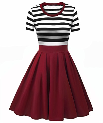 Vessos Women Crew Neck Short Sleeve Striped Slim Fit Mid Legth Swing Dress Black+Wine Red Medium