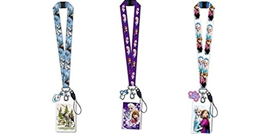Disney Frozen Lanyard Keychain with ID Holder and Charm x 3 (1 style each)