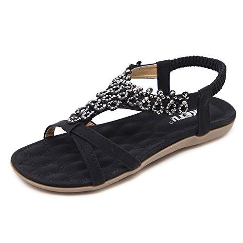 Fnnetiana Women's T-Strap Beach Flower Ankle Strap Flat Sandal Thong Shoes(8 B(M) US,Black)