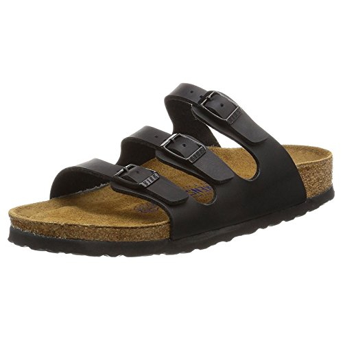 Birkenstock Women's Florida Soft Footbed Black Birko-Flor Sandal 41 R (US Women's - Sandal 3 Strap Black