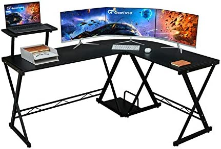 GreenForest L Shaped Desk 64 Large Size Reversible Corner Computer Desk