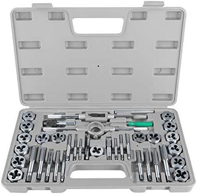 Gewindeschneid- und Matrizensatz, BiuZi 40Pcs M3-M12 Schraubenmutter Gewindeschneid- und Matrizensatz mit Schraubenschlüsseln und Hochleistungs-Handwerkzeugen mit Gewindelehre