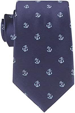 Mens' Fashion Business Solid, Woven, Stripes Necktie Tie ,Blue Anchor