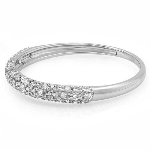 0.10 Carat (ctw) 10k Gold Round Diamond Ladies Anniversary Wedding Band Stackable Ring 1/10 CT