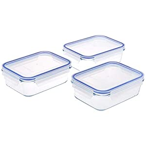 Amazon Brand – Solimo Rectangular Glass Storage Container Set, 1100ml, Set of 3, Transparent