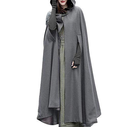 (STORTO Women Hooded Trench Coat Windproof Open Front Cardigan Magician Cape Cloak Poncho Gray)