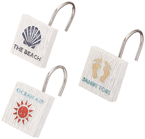 Avanti Linens 13676GMUL Beach Words Shower Hooks, Medium, Multicolor (Hooks Resin)