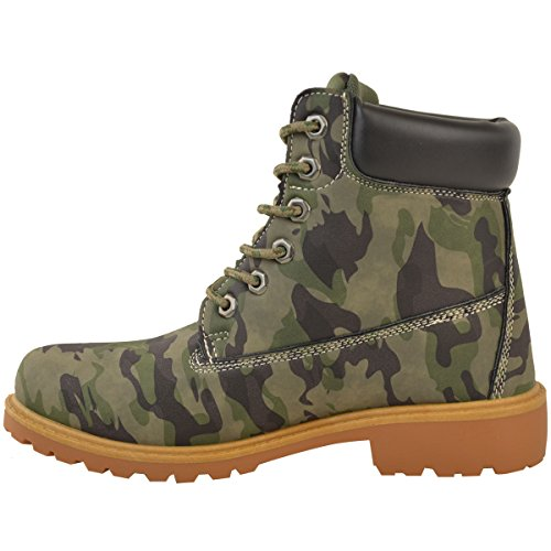 Military Womens Boots Camo Khaki Green Hiking Combat Shoes Heelberry Lace Comfy Ladies Grip Nubuck Army Walking Up wXBqR4nT