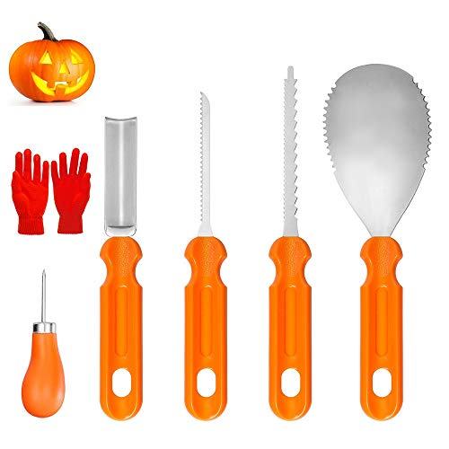 YZHI Pumpkin Carving Kit with Protective Gloves Halloween Pumpkin Carving Stencils Tools Knifes Gifts Pumpkin Carving Set 7pcs for Adults and Kids (Orange)]()