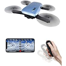 Mini Drone with Camera,TeckEpic H47 Elfie+ RC Quadcopter Selfie[8 Mins Flying Time] 720P WiFi Camera Foldable Pocket Headless Mode Flying Toys FPV Quadcopter with G-Sensor Control