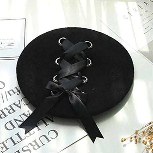 Women Woolen Painter Beret Hat Cap Elegent Lady Strap Crossing Bow Beret Hats Solid Color Fashion Caps Wholesale Black