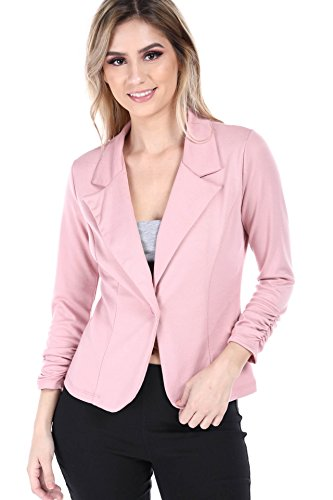 - Fashion Magazine Womens One Button Office Knit Blazer Jacket,Made in USA  Pink,Large