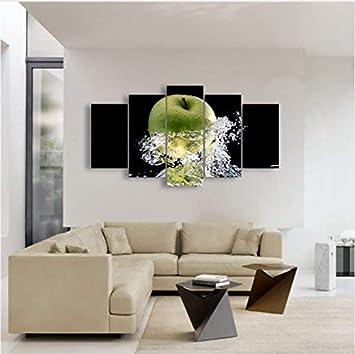 Decor Canvas Poster Pittura per Soggiorno 5 Pezzi/Pezzi Verde Mela e ...