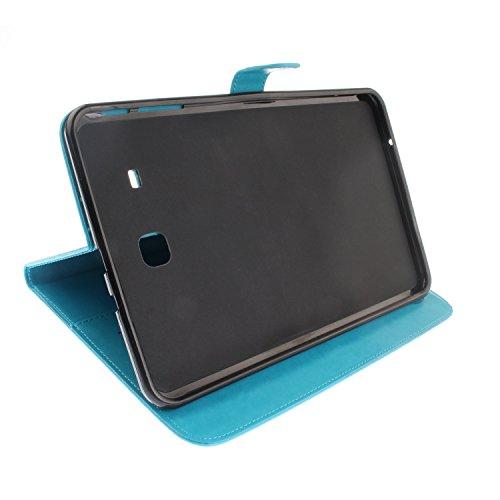 SRY-Funda móvil Samsung Para Samsung Galaxy Tab E 9.6 pulgadas T560 T561 cubierta de la caja, Horizontal Flip Folio Stand cartera Case Premium PU cuero con textura de relieve y 4 ranuras para tarjetas Blue