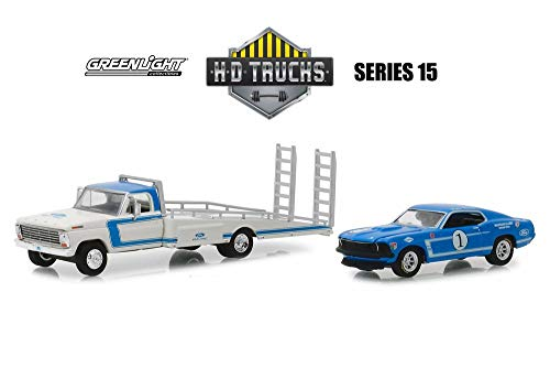 1969 Ford Ramp Truck with Ford Mustang Boss 302, White with Blue - Greenlight 33150A/48 - 1/64 Scale Diecast Model Toy Car