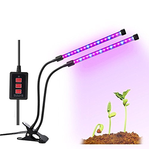 Indoor Plant Dual Head Timing Grow Lamp Light, Imikoko™ With Desk Clip 36 LED Chips with Red/Blue Spectrum for Indoor Plants, Adjustable Gooseneck, 3/6/12H Timer, 5 Dimmable Levels (Plant Blue Led Red)
