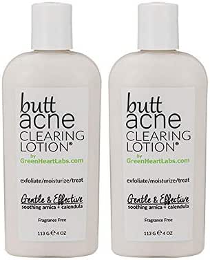Butt Acne Clearing Lotion (2 pack) for back, buttocks, thighs - Clears away acne breakouts and reveals new brighter skin