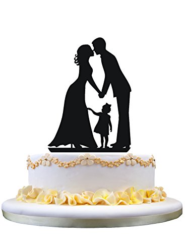 Wedding Cake Topper Silhouette Groom kiss Bride with little Girl daughter
