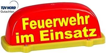 Paco Deutschland E K Dachschild City Leuchtrot Feuerwehr Im Einsatz Textfarbe Gelb Unbeleuchtet Dachaufsetzer Auto