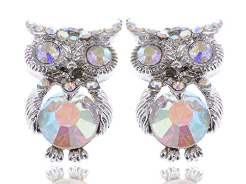 Silver Tone Cute Crystal Body Aurora Borealis Rhinestone Owl Stud Earrings