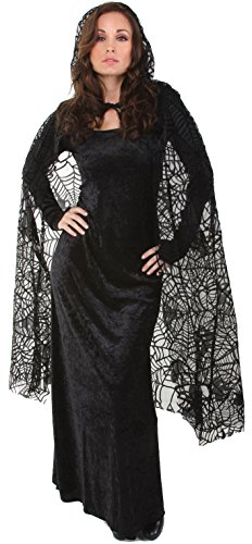 Underwraps Women's 55 Inch Sheer Spiderweb Cape, Black, One Size