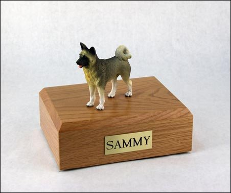 King Products Pet Cremation Urn - Akita Gray, Standing Figurine On Traditional, X-Large-Sized, Oak Wood Urn.