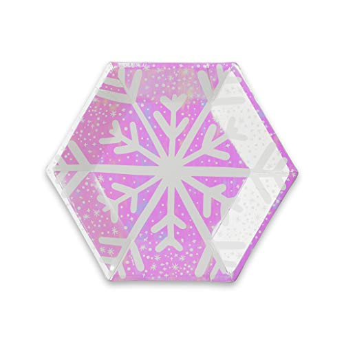 Daydream Society Frosted Iridescent Snowflake Small Paper Party Plates, Pack of 8