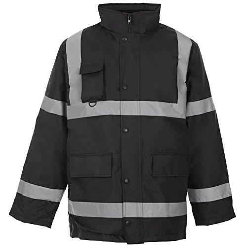 Forever Mens Two 2 Tone Hi Viz Parka Reflective Waterproof Padded Workwear Jacket Coat