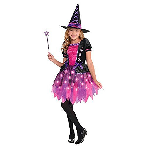 Amscan 846863 Girls Light-Up Sparkle Witch Costume, Medium (8-10), Black/Pink]()