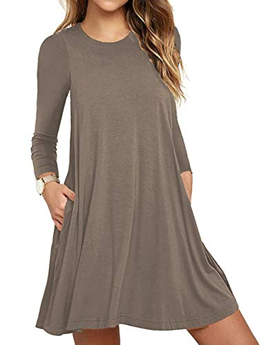 Unbranded* Women's Long Sleeve Pockets Casual Swing T-Shirt Dresses Brown XX-Large