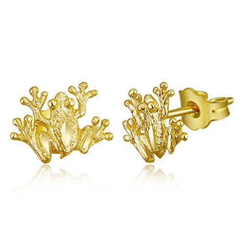 14k Yellow Gold Frog Stud Earrings (8 x 9 mm)