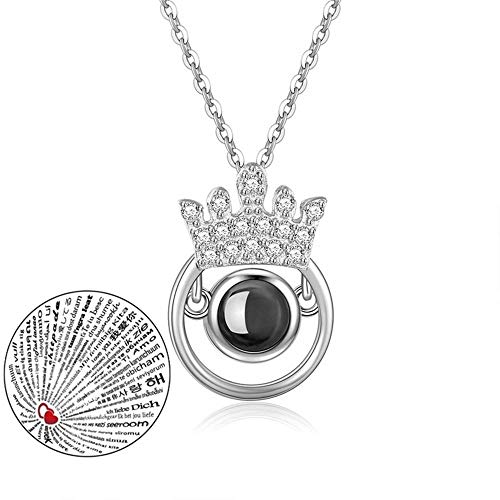 (Inf-way I Love You Necklace, 100 Languages Projection on Round Onyx Pendant Loving Memory Collarbone Necklace 1 Pcs (925 Crown Silver))