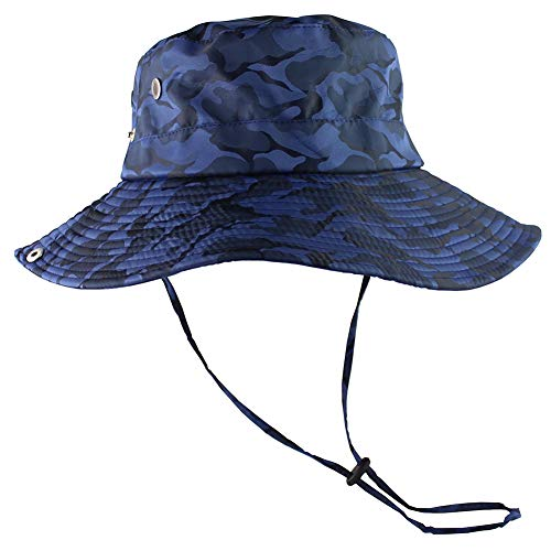 CAMOLAND Camouflage Outdoor Fishing Boonie Hat with Wide Brim UV Protection Summer Safari Sling Bucket Cap UPF 50+