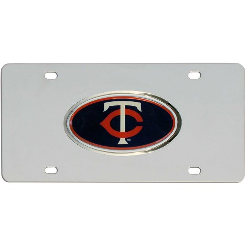 Mlb Stainless Steel License Plate (MLB Minnesota Twins Steel License Plate with Raised)