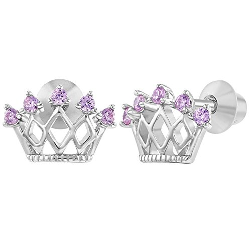 925 Sterling Silver Pink CZ Princess Crown Screw Back Earrings Little Girls