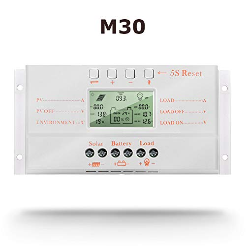 SolaMr 30A Solarladeregler 12V/24V Automatische Erkennung der Spannung Solarpanel-Intelligenzregler mit LCD Display und USB-Anschluss - M30