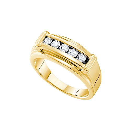 14kt Yellow Gold Mens Round Diamond Single Row Ridged Edges Wedding Band Ring 1/2 Cttw by JawaFashion